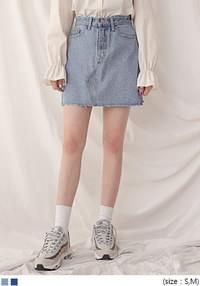 [SKIRT] NATURAL CUTTING DENIM MINI SKIRT