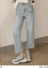 LIGHT WASHING CROP DENIM PANTS