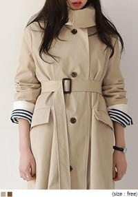 [OUTER] WIDE COLLAR SINGLE TRENCH COAT