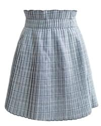 Moya banding pleated check skirt