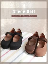 Suede belt shoes