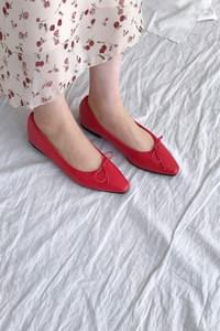 Rolling Ribbon Flat Shoes-Red 250