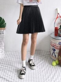 Leather mini pleated skirt