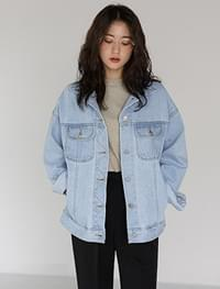 zigzag stitch denim jacket