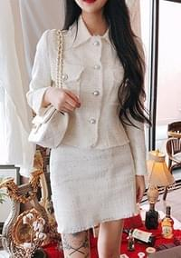 Charlotte - White Tweed Jacket