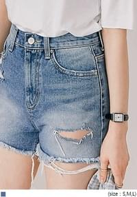 [BOTTOM] DESTROYED CUT OUT DENIM SHORTS