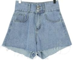 3 button denim short pants