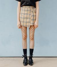 Lonely Wrap Check Skirt