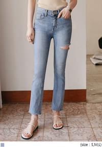 [BOTTOM] THIGH CUTTING DENIM PANTS