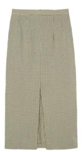 havana deep slit check skirt (s, m)