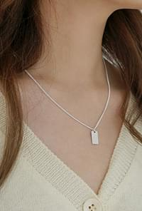 Silver mini rectangle necklace(silver 925)