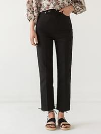 high waist linen slim straight pants