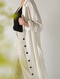 natural strap summer long coat
