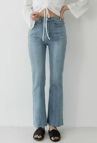 Mulled slim boots cut denim pants