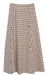 button high skirt check skirt