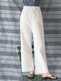 high-waist banding cotton pants