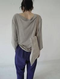 comfortable V linen top (4colors)