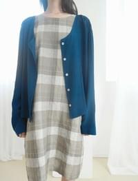 fluid blouse and cardigan (moss blue)