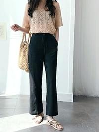 Linen Pretzle Wide Pants
