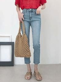 Crop mall denim pants
