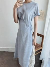 Check picnic Long wrap dress