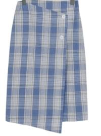 Margarine check button skirt_S (size : S,M)
