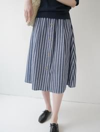 marine stripe button skirt (2colors)