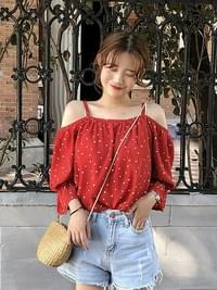 White Heart Dot Red Off-Shoulder Blouse