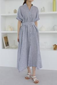 Linen stripe shirts one-piece