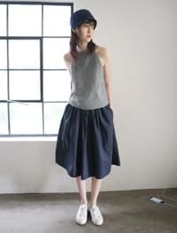 wide banding cotton skirt (2colors)