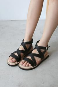 Cross strap buckle sandals