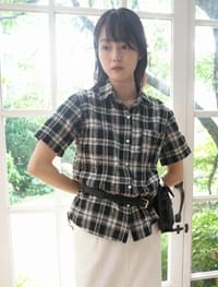 crease texture cotton plaid shirt (2colors)