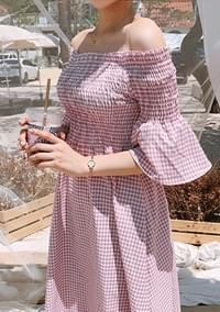 Cherry - Smoke Off Shoulder Dress