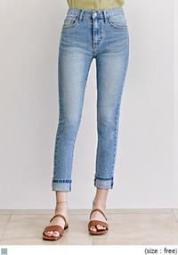 [BOTTOM] ROLL UP SLIM FIT CROP DENIM PANTS