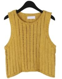 Outline point knit sleeveless