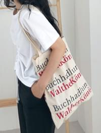 Lettering natural cotton bag_S (size : one)