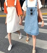 Crocodile Denim Overalls Dress