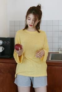 Loose fit color linen tee