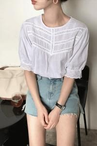Muffin lace blouse ★ Navy ships same day! Order rush!