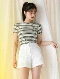 5color slim fit stripe tee