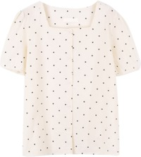 Linen Square Neck dot blouse