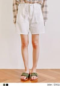 [BOTTOM] BIG FLAT POCKET COTTON SHORTS