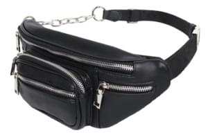 leather zipper hip sack