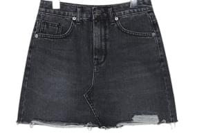 DAMAGE BLACK DENIM MINI SKIRT