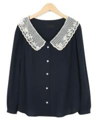 Dove lace collar blouse_S (size : free)