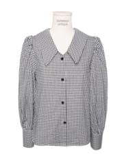 GINGHAM CHECK COLLAR PUFF BLOUSE