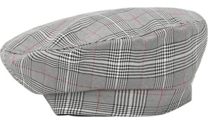 Glen check buckle beret