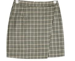 unbalance check mini skirt (s, m)