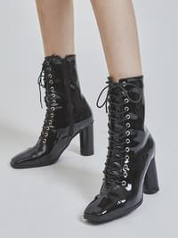 enamel lace-up middle boots (2 color)
