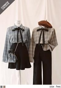 [TOP] MILD CHECK RIBBON TIE BLOUSE
